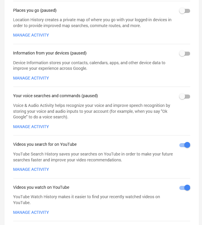 disable Google Search History