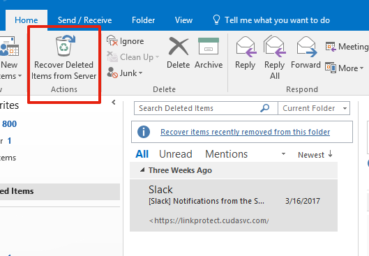 Recover a Deleted Email